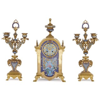 Oriental style gilt bronze and champlevé enamel clock set