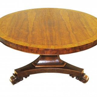 Regency English Rosewood & Brass Inlaid Centre Table