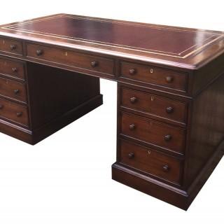 Large Antique William 1V Oak Pedestal Desk