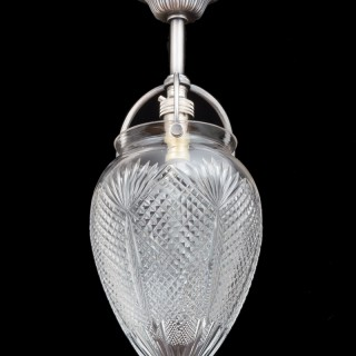A SMALL PAIR OF DIAMOND AND FAN CUT HALL LIGHTS