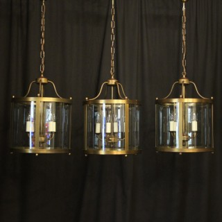 English Set Of 3 Brass Convex Lanterns