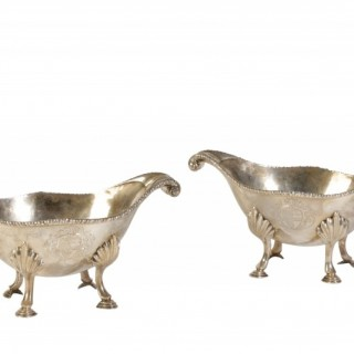 PAIR OF GEO III SILVER DISHES / SAUCE BOATS / SAUCE TUREENS 1776 By JOHN ROBINS