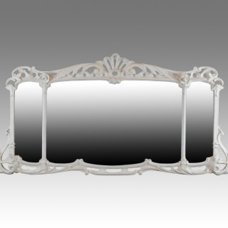 Early 18th Century white painted overmantel/overmantle mirror