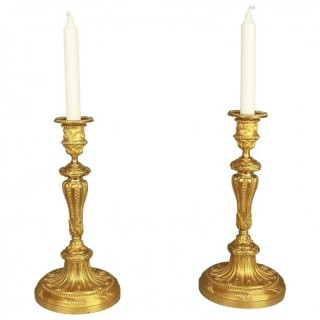 Pair of Late 19th Century Louis XVI Style Gilt-Bronze Candlesticks