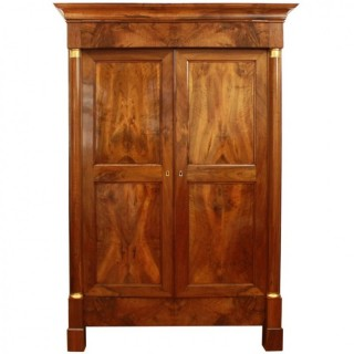 Large Empire Walnut Wardrobe or Armoire, ca. 1810