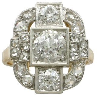 2.65ct Diamond and 18ct Yellow Gold, Platinum Set Dress Ring - Antique French Circa 1925