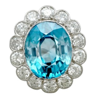 9.62 ct High Zircon and 2.24 ct Diamond, Platinum Cluster Ring - Vintage Circa 1950