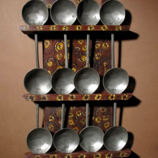 A Dutch Very Decorative and Original Painted Spoon Rack. stamped for, Hendrik Kamphof Zwolle