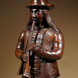 A French Folklore Very Finely Carved Figure Of A Musician Of The Provence