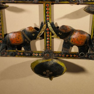 A very decorative and Unusual Original Painted Iron Oil lamp.