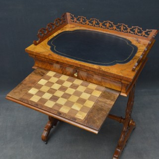 19th Century Walnut Games and Work Table