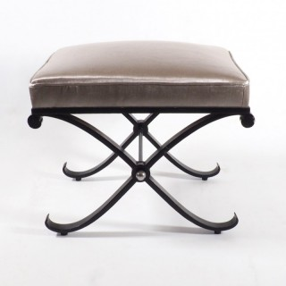 French 1950s Neo-Classical Enameled Iron x Footstool