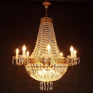 French Empire Style Tent and Bag Basket Chandelier