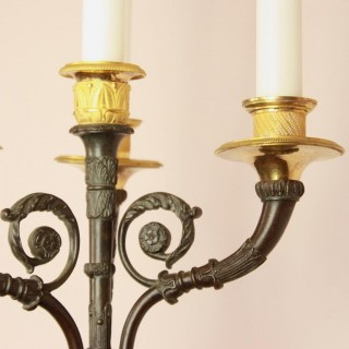 Pair of French Empire/Charles X Ormolu and Patinated Bronze Four-Light Wall Appliques