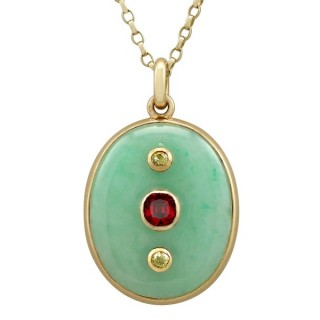 Jade and 0.98ct Garnet, 0.23ct Diamond and 18ct Yellow Gold Locket - Antique French Circa 1890