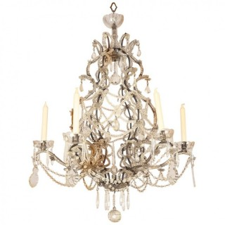 19th Century Southern French Basket Louis XV Style Cut Crystal Chandelier