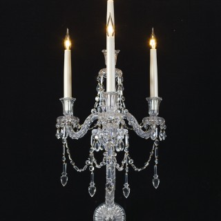 AN UNUSUAL PAIR OF FOUR LIGHT MID VICTORIAN CUT GLASS WALL-LIGHT BY F&C OSLER
