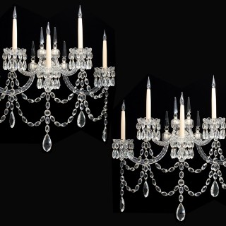 AN UNUSUAL PAIR OF MID-VICTORIAN FIVE LIGHT CUT -GLASS WALL-LIGHTS