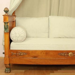 French early 19th Century Empire Egyptian Revival Daybed with Demilune Canopy