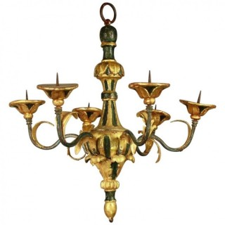 Small Italian18th Century Painted and Giltwood Chandelier