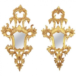 Pair of 18th Century North Italian Rococo Giltwood Wall MIrrors