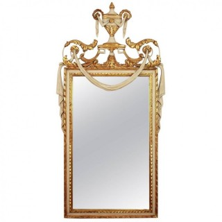 French Louis XVI Style Parcel-Gilt and Painted Mirror