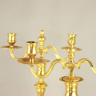 Pair of Early 18th Century French Ormolu Two-Light Candelabra