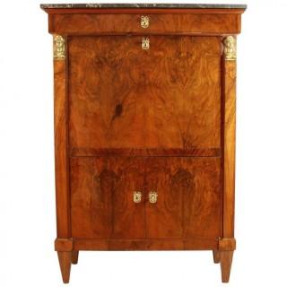 French 19th Century  Walnut Desk or Secrétaire à Abattant