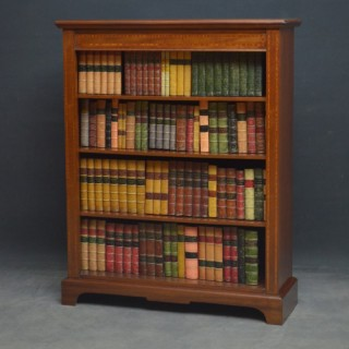 Antique Mahogany and Inlaid Open Bookcase