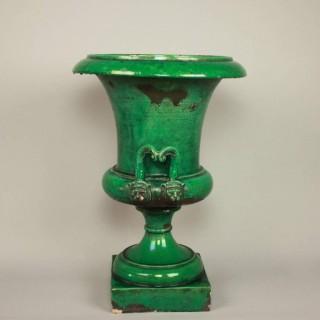 Large 19th Century Faience Ceramic Medici Vase