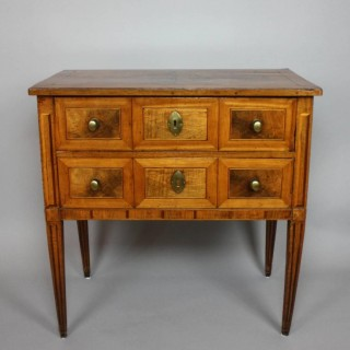 Small 18th Century Neoclassical Marquetry Commode or Chest of Drawers