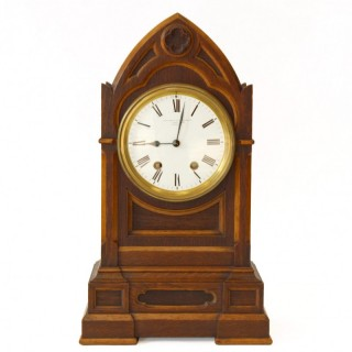 Gothic Revival Oak mantel clock, Parkinson & Frodsham