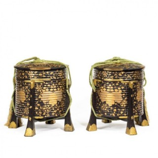 A Pair of Edo Period Black and Gold Lacquer Samurai Helmet Boxes