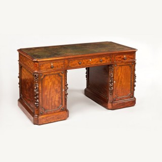 An Antique Mahogany Pedestal Desk by Hamptons