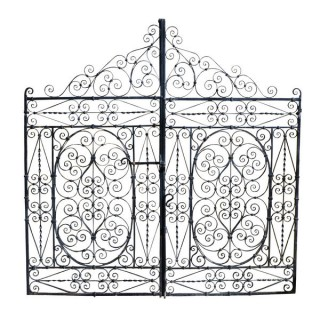 A pair of decorative wrought iron gates