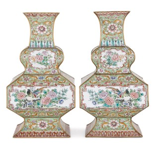 Two Chinese green cloisonné enamel vases