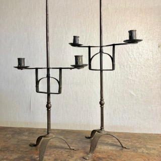 Pair of iron table standing adjustable candlesticks 18th  century
