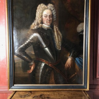 Three-quarter length oil on canvas painting of gentlemen in armour c1690
