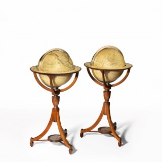 Pair of George III J & W Cary's 12 inch floor globes, 1800