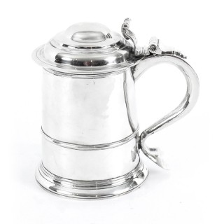 Antique Queen Anne English Silver Tankard 1706 18th Century