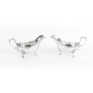 Antique Pair English Silver Plated Sauce Boats James Dixon & Sons 19th Cent