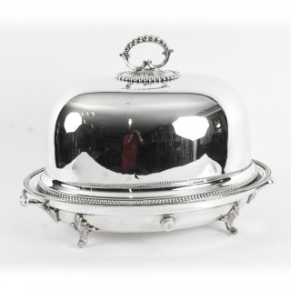 Antique Victorian Silver Plated Oval Venison Tureen & Domed Cover C 1860 19th C