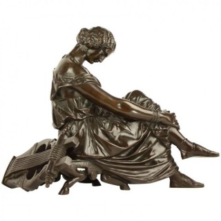 Susse Frères after James Pradier (1790-1852): Bronze figure depicting Sappho