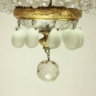 French Empire Style Cut-Crystal Tent and Bag Chandelier