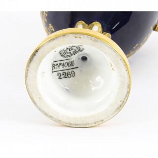 Antique Pair Royal Worcester Porcelain Two Handled Pedestal Ovoid Vases 1903