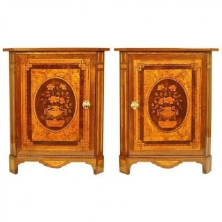 Pair of French Louis XVI Marquetry Corner Cabinets in the Manner of Daniel Deloose