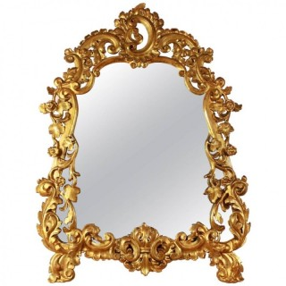 18th Century Italian Cartouche-Shaped Giltwood Wall Mirror