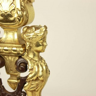 French 19th Century Gilt and Patinated Bronze Fire Place Fender