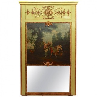 French 18th Century Trumeau Mirror with painting depicting a galant scene