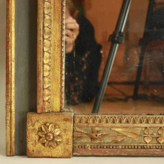 French Provencal 18th Century Giltwood and Painted Trumeau Mirror